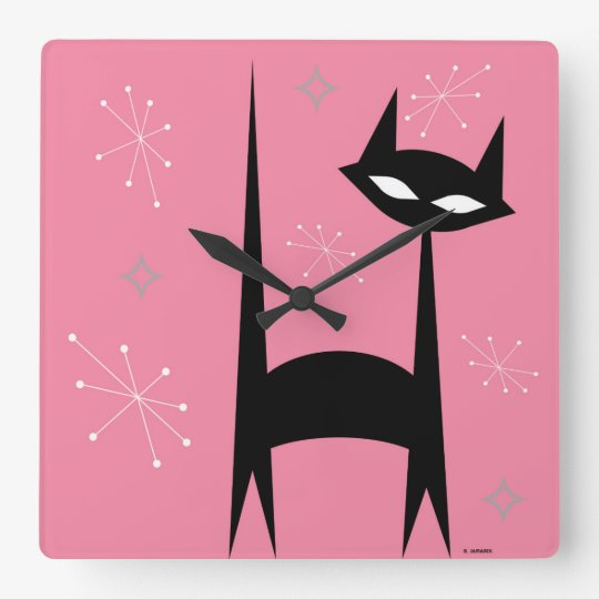 50 S Retro Black Cat Pink Pop Art Clock Zazzle Com