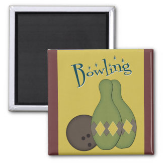 50s Retro Bowling 2 Inch Square Magnet