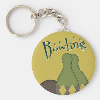 50s Retro Bowling Basic Round Button Keychain