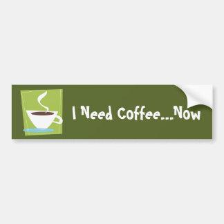 50s Retro Coffe Cup Graphic Bumper Stickers