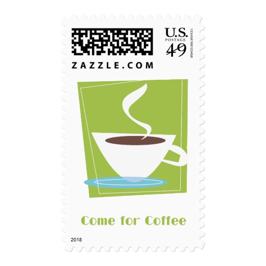50s Retro Coffe Cup Graphic Come for Coffee Postage