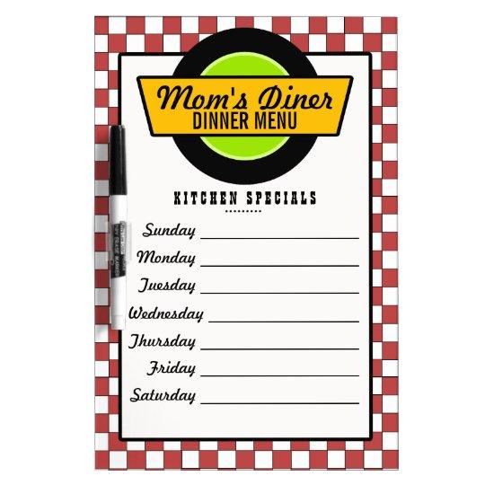 50s Retro Diner Menu Dry Erase Board