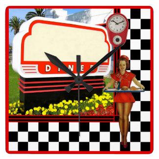 50s Retro Diner Square Wall Clock