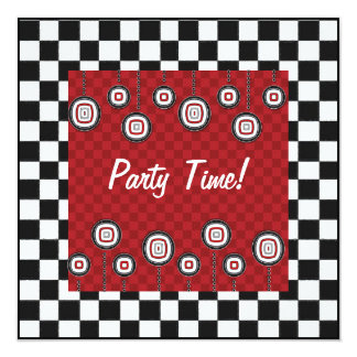 50s Retro Party Invitation in Red White and Black