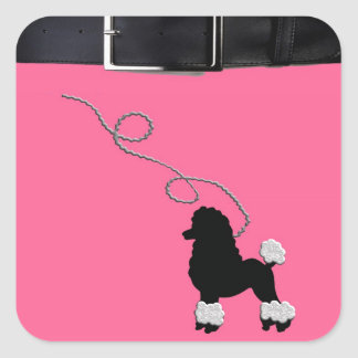 50s Retro Poodle Skirt Square Stickers