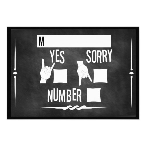 50's Rock n' Roll Chalkboard Wedding Invite RSVP