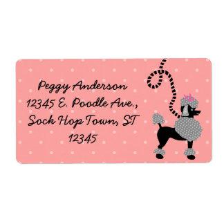 50s rosado de la falda del caniche y negro retro etiqueta de envío