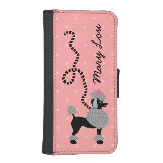 50s rosado de la falda del caniche y negro retro fundas cartera para teléfono