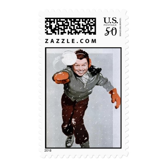 50's Snowball Fight Postage