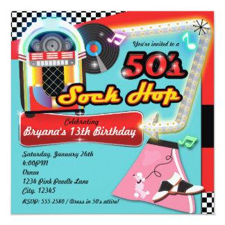 50's SOCK HOP Birthday Party Retro Red Invitation