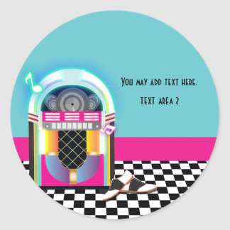 50's Sock Hop Dance Party Jukebox Pink Sticker