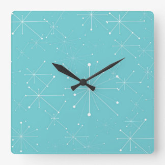 50s Style Retro Pattern Square Wall Clock