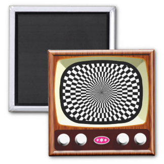 50s Television Op Art 2 Inch Square Magnet