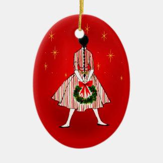 50s Vintage Christmas Girl Oval Ornament