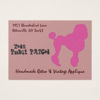50s Vintage Pink Felt Poodle Business Card