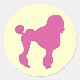 50s Vintage Pink Felt Poodle Classic Round Sticker