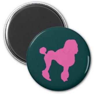 50s Vintage Pink Felt Poodle 2 Inch Round Magnet