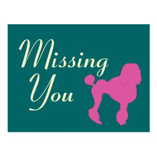 50s Vintage Pink Felt Poodle Postcard