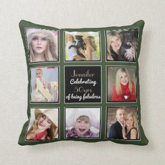 50th 40th 30th 21st Instagram PHOTO Collage Olive Throw Pillow