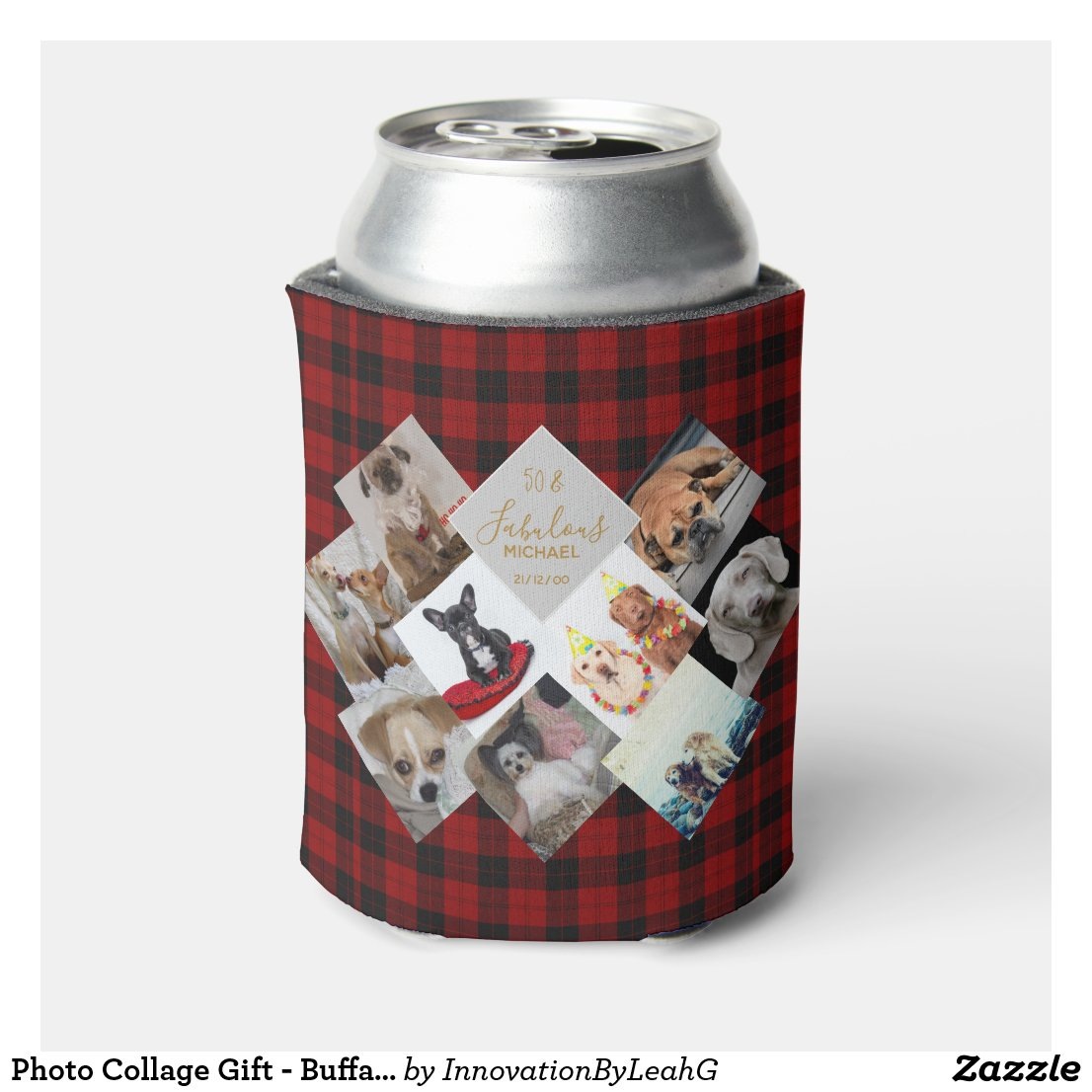 50th 40th 60th PHOTO Collage Buffalo Plaid Named Can Cooler