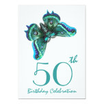 "50th - 59th Birthday Party Invite Teal Butterfly 5"" X 7"" Invitation Card"
