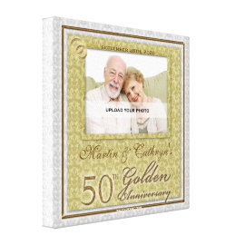 50th Anniversary 16x16 Personalized Photo Canvas Stretched Canvas Print