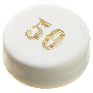 50th Anniversary 50 Birthday Wedding Gold White Chocolate Dipped Oreo
