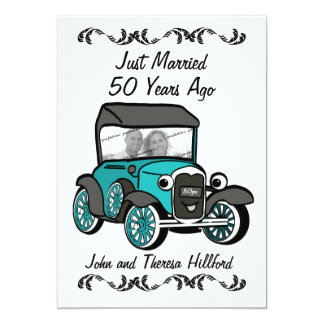 "50th Anniversary Antique Car 5"" X 7"" Invitation Card"