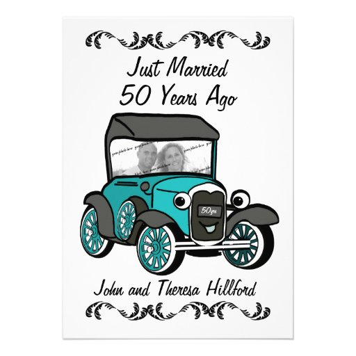 50th Anniversary Antique Car Invitations