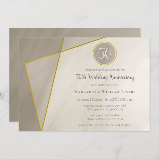 50th anniversary birthday antique gray gold frame invitation