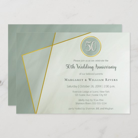 50th anniversary birthday grayed jade w gold frame invitation
