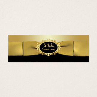 50th Anniversary Black and Gold Favor Tag