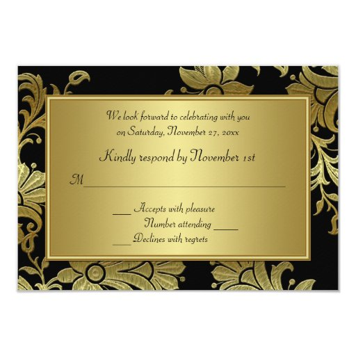 Th anniversary black and gold floral rsvp card zazzle