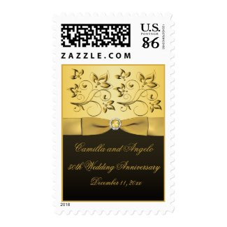 50th Anniversary Black and Gold Jewelled Postage stamp