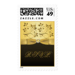 50th Anniversary Black and Gold Jewelled RSVP Postage Stamp