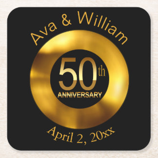50th Anniversary | black gold bling Square Paper Coaster