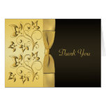 50th Anniversary Black, Gold Floral Thank You Card Cards