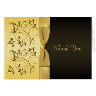 50th Anniversary Black Gold Floral Thank You Card Cards