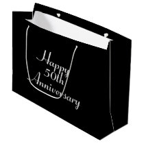 50th Anniversary Black with White Template Giftbag Large Gift Bag