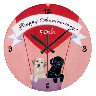 50th Anniversary Black & Yellow Labradors Wall Clock