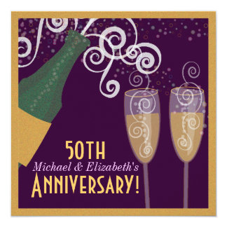 50th Anniversary Bubbly Champagne Gold Party Card