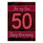 50th anniversary card with roses and leaves