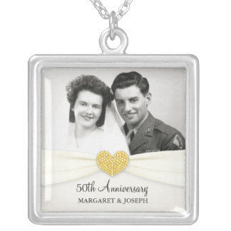 50th Anniversary Celebration Wedding Photo Pendant