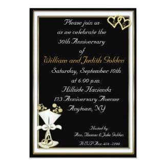 50th Anniversary Champagne Black Invitation