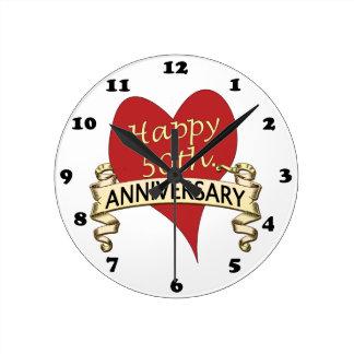 50th. Anniversary Round Wall Clock