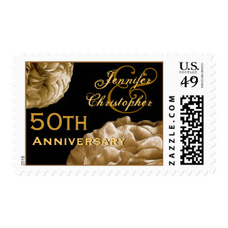 50th Anniversary Customized Stamp - GOLD Roses