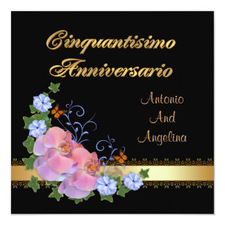 50th anniversary dinner invitation, Italian Card