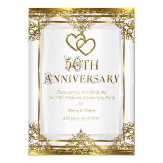 50th Anniversary Elegant Gold White Pearl Card