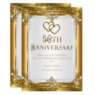 50th Anniversary Elegant Gold White Pearl Golden Invitation
