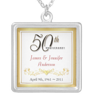 50th Anniversary Elegant Keepsake Pendant
